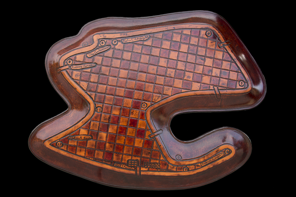 Map of Mazda Speedway Laguna Seca Hand Tooled from Leather by Lance Marshall Boen