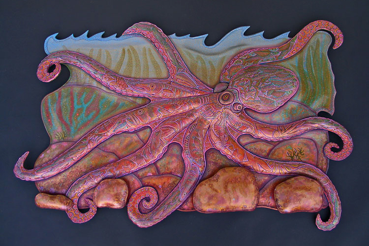 Octopus w/ Background Installation by Lance Marshall Boen