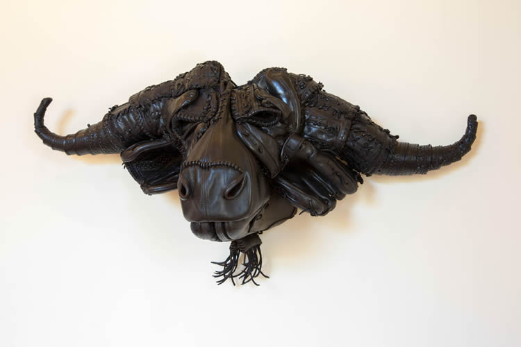 African Cape Buffalo Impact: Leather Sculpture Artwork Painting