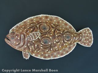 Flounder Fish Sculpture hand tooled by Lance Marshall Boen. This unique fish art is inspired by Lance's passion for fly fishing. His works of art vary from larger than life leather fish sculptures to an Eagle made from vintage baseball gloves with a wingspan of nearly 12 feet.