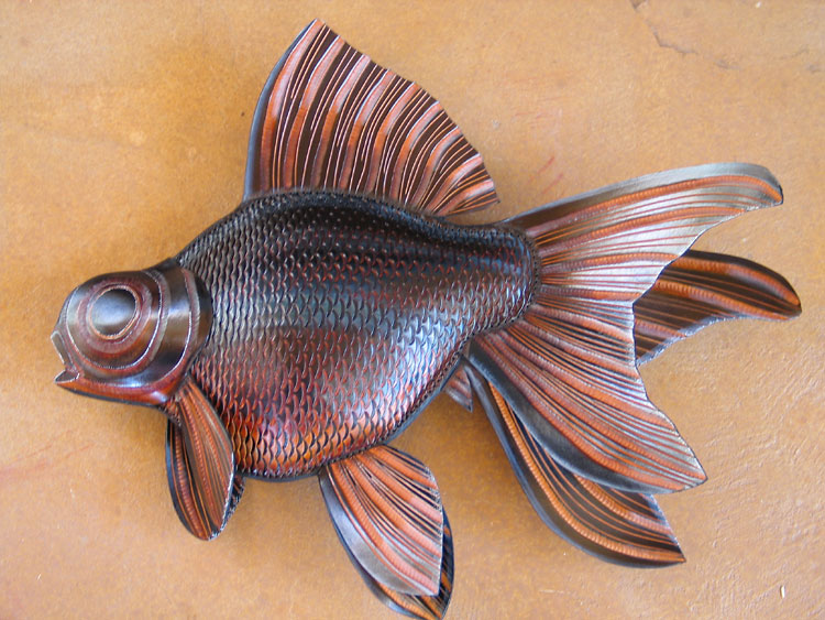 One of four goldfish sculptures that were commissioned by a private collector for his collection.