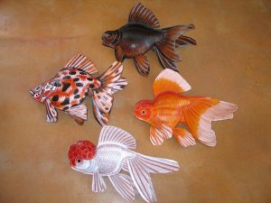 Group of four goldfish sculptures that were commissioned by a private collector for his collection.