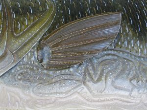 Large Mouth Bass Sculpture hand tooled by Lance Marshall Boen. This unique fish art is inspired by Lance's passion for fly fishing. His works of art vary from larger than life leather fish sculptures to an Eagle made from vintage baseball gloves with a wingspan of nearly 12 feet.