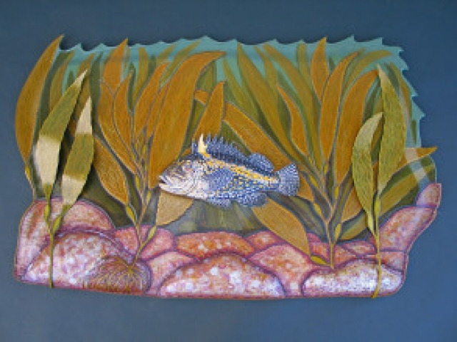 China Rock Sculpture hand tooled by Lance Marshall Boen. This unique fish art is inspired by Lance's passion for fly fishing. His works of art vary from larger than life leather fish sculptures to an Eagle made from vintage baseball gloves with a wingspan of nearly 12 feet.