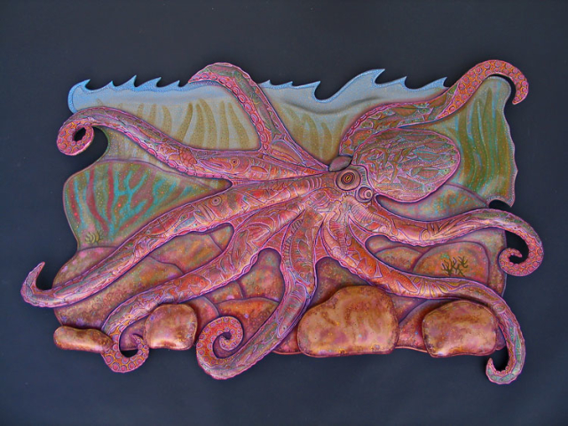 Octopus Installation hand tooled by Lance Marshall Boen. This unique fish art is inspired by Lance's passion for fly fishing. His works of art vary from larger than life leather fish sculptures to an Eagle made from vintage baseball gloves with a wingspan of nearly 12 feet.