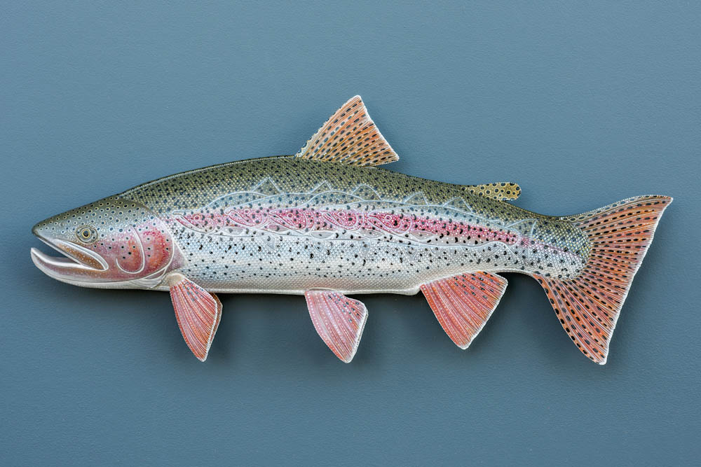 "Alaskan Rainbow Trout : 30"" Leather & Acrylic Paint"