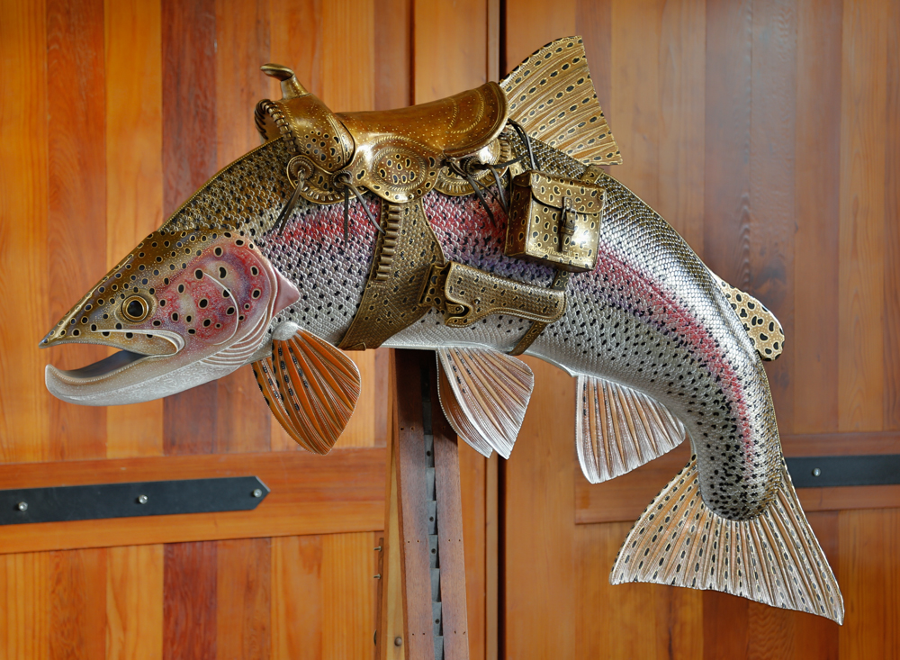Bucking Rainbow Trout Fish Sculpture | Leather w/ Saddle | 6ft