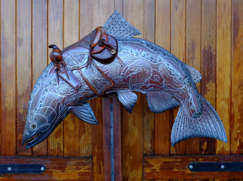 Bucking Salmon Leather Sculpture, fly fishing painting artwork