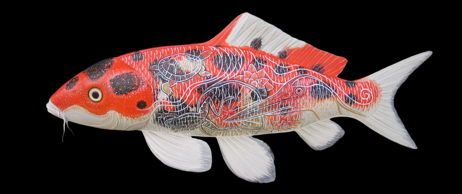 Japanese Koi Fish Sculpture handmade from Leather and Acrylic Paint