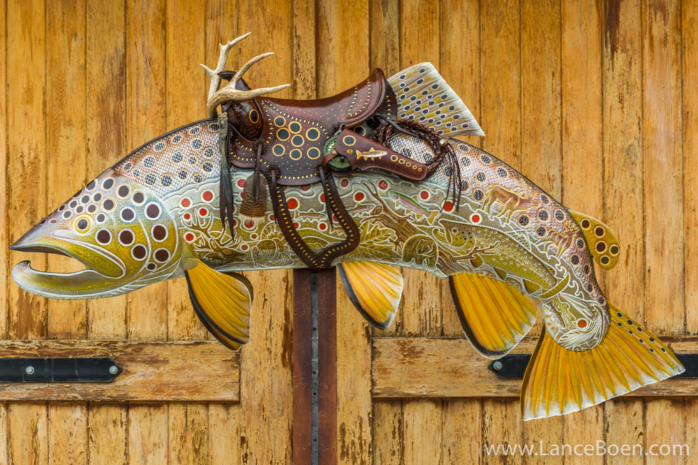 Brown Trout with Antlers Leather Fish Art