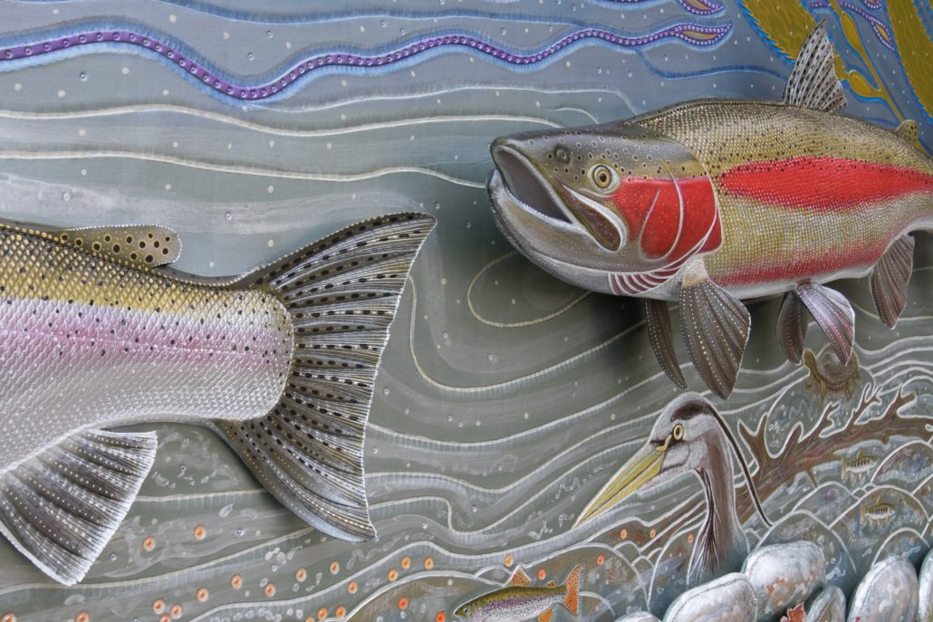 Spawning Steelhead Permanent Collection at the Garland Ranch Nature Center 8′ | Leather & Acrylic Paint