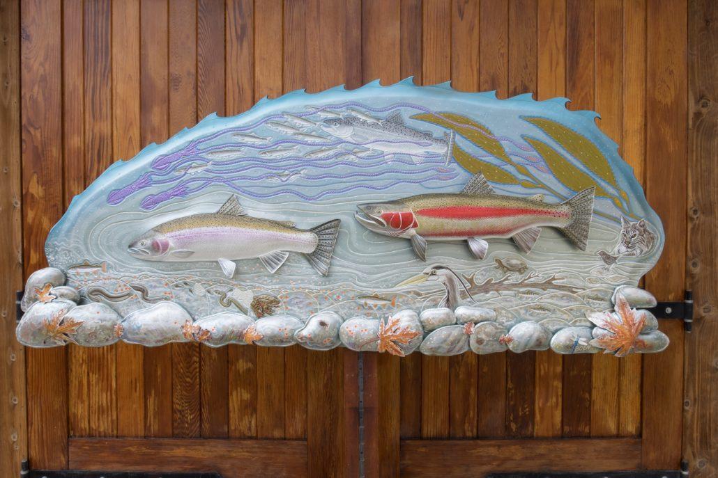 Spawning Steelhead Leather Fish Sculpture