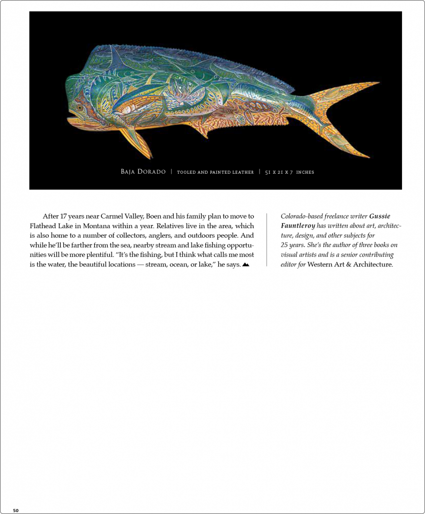 Text with photos of leather fish sculptures