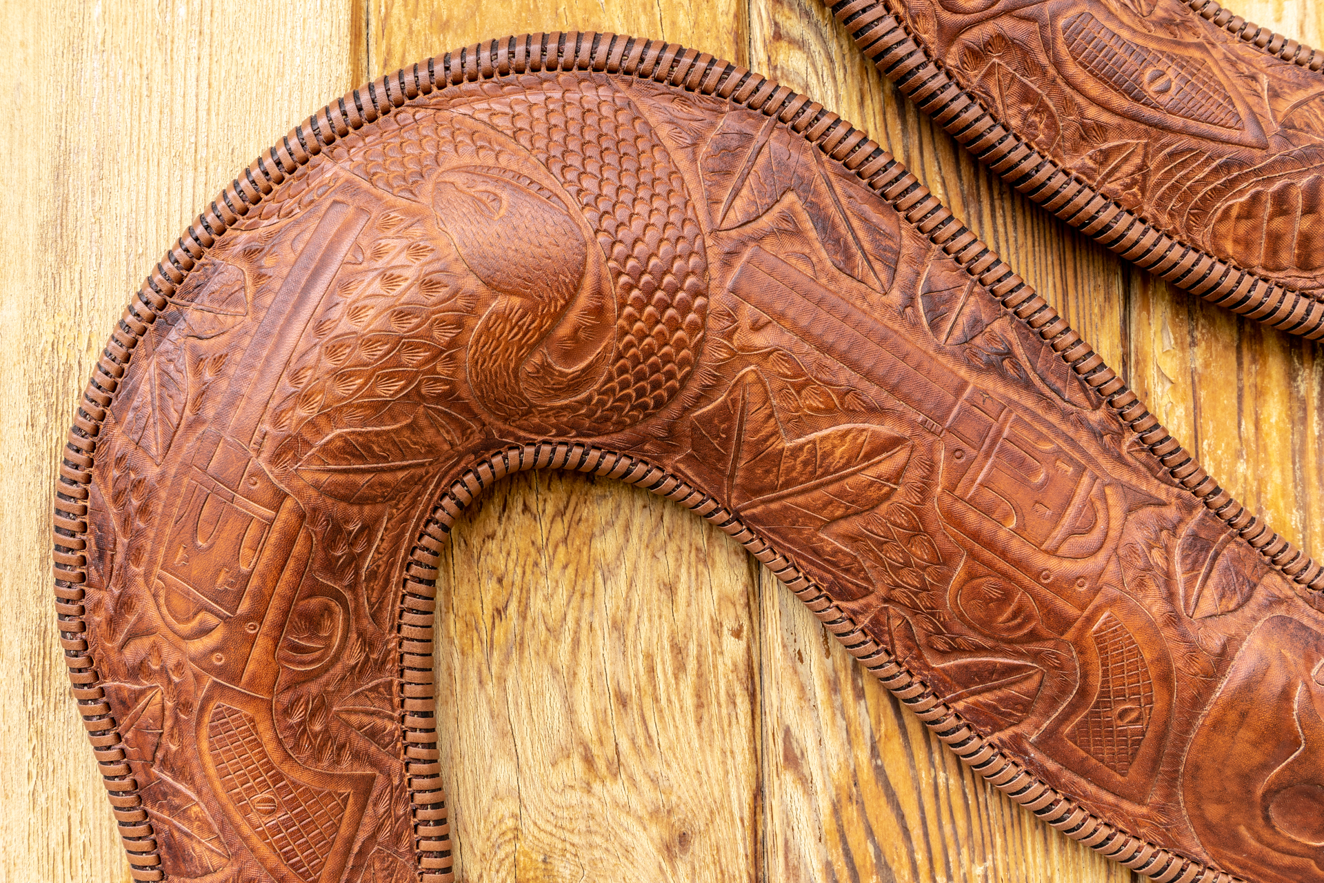 Leather Rattle snake with images of guns