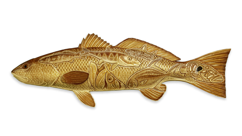 3 Dimensional Florida Red Fish made from tooled leather.